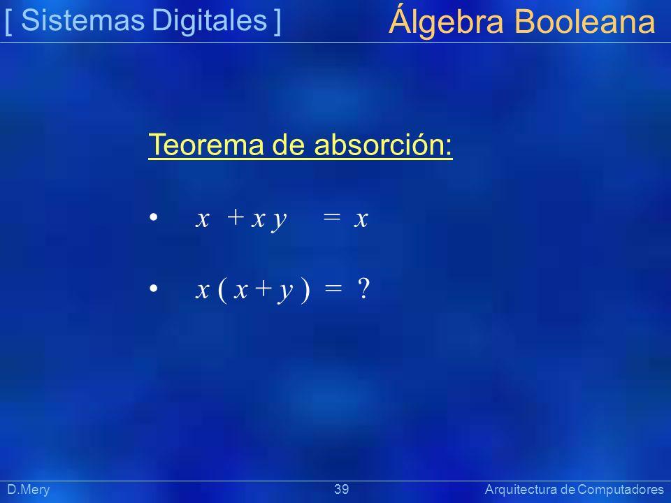 Álgebra Booleana [ Sistemas Digitales ] Teorema de absorción: